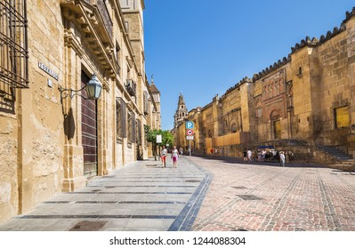 Spain, Cordoba - June 19, 2018: Exterior wall Mosque Cathedral in Cordoba- famous landmark in Andalusia.