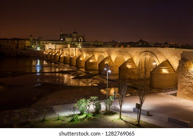 Spain, Cordoba, Roman Bridge (Puente Romano) on Guadalquivir River and Mosque Cathedral at night