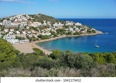 Spain Costa Brava, Cala Montgo bay in l'Escala town, Catalonia, Alt Emporda, Girona, Mediterranean sea