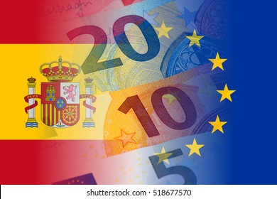 spain and eu flag with euro banknotes