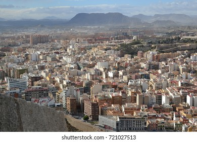 Spain Europe Alicante cityscape from mountain lanscape