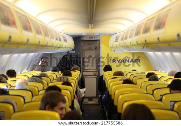 SPAIN - FEB 2: Passengers Inside of the Ryanair airplane. February 2, 2011 in Spain