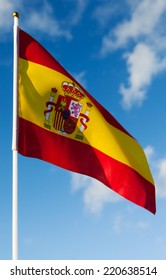 Spain flag blowing in the wind.