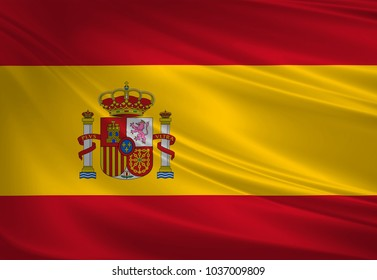 Spain flag blowing in the wind. Background texture. 3d rendering, wave.