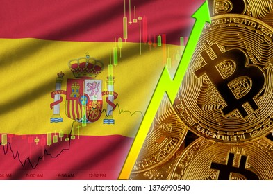 Spain flag and cryptocurrency growing trend with many golden bitcoins