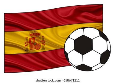 Spain flag with football ball