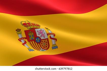 Spain Flag. Illustration of the Spain flag waving.