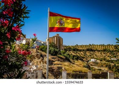 Spain Flag standing in Setenil de las Bodegas, Spain
