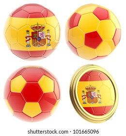 Spain football team set of four soccer ball attributes isolated on white