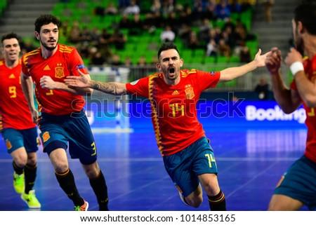 9c23872964e98 Spain futsal players celebrate after scoring a goal during the UEFA European  Futsal Championship 2018 match