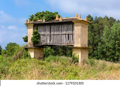 Spain, Galicia: Typical Galician granary (Horreo) in wood and stone, raised from the ground by pillars ending in flat staddle stones with blue sky in the background - concept agriculture grain crop