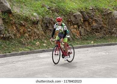Spain, Girona - October 1, 2017: Cycling in the Park and outside the city. Cycling sports