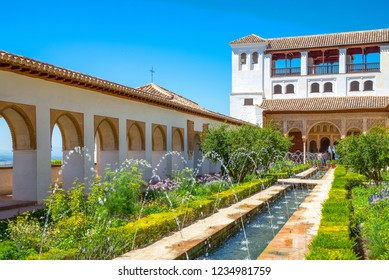 Spain, Granada, The Alhambra, the Patio de la Azequia of the Generalifa palace