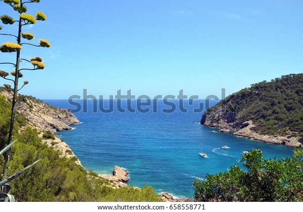Spain Ibiza Cala Llonga View Bay Stock Photo (Edit Now