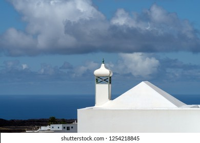 Spain, Lanzarote, detail of typical white house with chimney