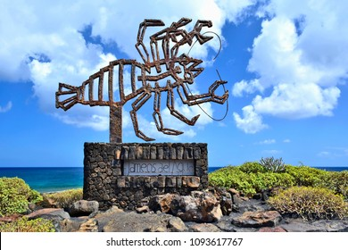 SPAIN, LANZAROTE, JAMEOS DEL AQUA - APRIL 21, 2014: Jameos del Agua - The modern crab sculpture at entrance to underground complex in lava rock created by Cesar Manrique