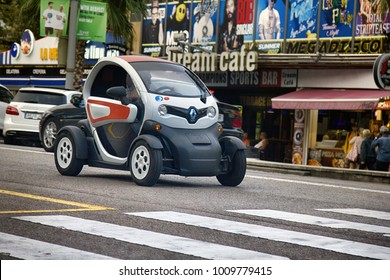 Spain, Leora de Mar - October 2, 2017: Smart cars are economical in consumption of fuel and Parking, as well as unforgettable original look. Renault
