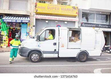 Spain, Leora de Mar - October 2, 2017: Mini market and delivery of goods (car minivan and loader