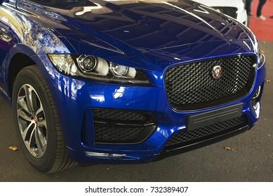 Spain, Lerida - September 29, 2017: Front of a Jaguar brand car exhibited at the San Miguel de Lerida Fair.