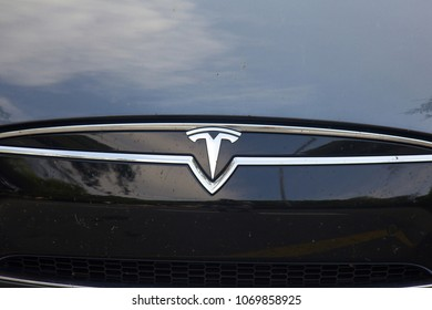 Spain, Loret de Mar - October 4, 2017: Tesla is an American company that designs, manufactures, and sells electric cars