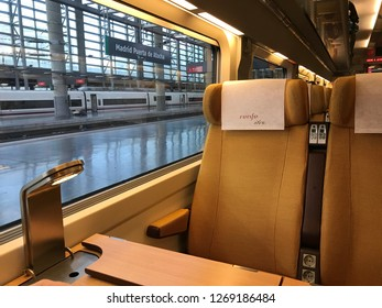 Spain, Madrid. December 28, 2018. Seat of Renfe Ave High Speed Train coach stooped at Madrid Puerta de Atocha Station.