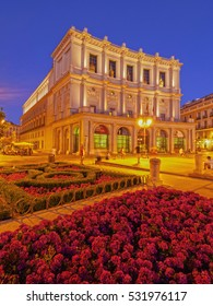 Spain, Madrid - July 20, 2014: Twilight view of the Teatro Real from the side of the Plaza de Oriente.