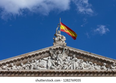 Spain, Madrid, pediment of the National Library of Spain, 19th century Neoclassical architecture, sculptures represents the Triumph of the Letters, Sciences and Arts, statue of Hispania on top