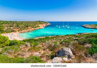 Spain Majorca, beach of Cala Varques, beautiful bay seascape, Mediterranean Sea.