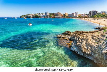 Spain Majorca beach Son Maties Palmanova, Mediterranean Sea, Balearic Islands.