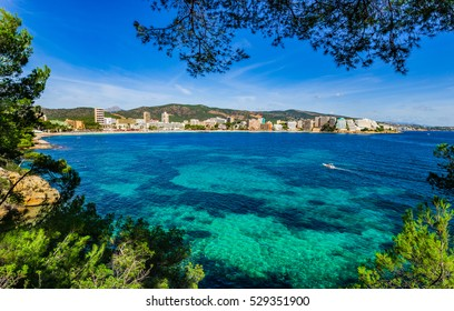 Spain Majorca, beautiful seaside view of Magaluf, mediterranean sea, balearic islands.