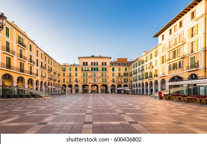 Spain Majorca, city center Palma, famous square Plaza de Major, Balearic Islands.
