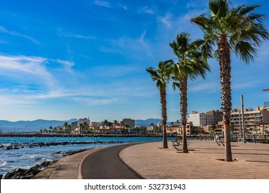 Spain Majorca island, beach promenade in Portixol near Palma, Mediterranean Sea, Balearic Islands.