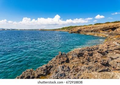 Spain Majorca island, coastline with view of the beach resort Sa Coma, Balearic Islands, Mediterranean Sea.