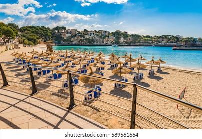 Spain Majorca island, sand beach of Porto Cristo, beautiful bay coast, Mediterranean Sea, Balearic Islands.
