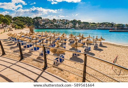 Spain Majorca island, sand beach of Porto Cristo, beautiful bay coast, Mediterranean Sea, Balearic Islands.