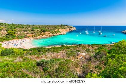 Spain Majorca island, stunning seaside of the beautiful beach of Cala Varques, Mediterranean Sea, Balearic Islands.