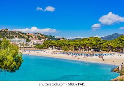 Spain Majorca island, view of the coastline beach in Santa Ponsa, Mediterranean Sea, Balearic Islands.