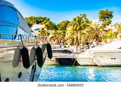 Spain Majorca island, yacht marina harbor Cala D'Or with recreational boats, Mediterranean Sea.