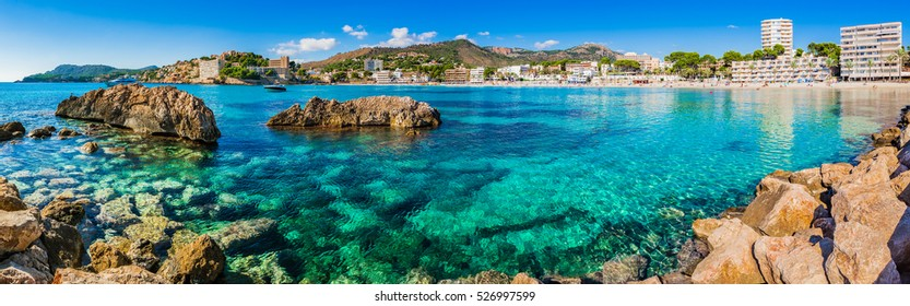 Spain Majorca Mallorca, mediterranean sea coast seaside of Peguera beach, Platja palmira.
