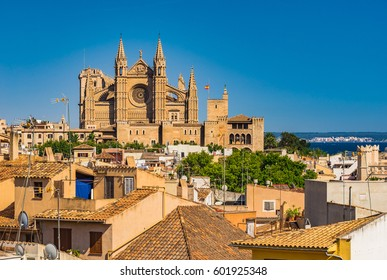 Spain Majorca, old town Palma de Mallorca with view of the famous Cathedral La Seu, Mediterranean Sea, Balearic Islands.