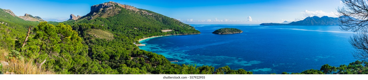 Spain Majorca Panorama bay landscape with view of Platja Formentor.
