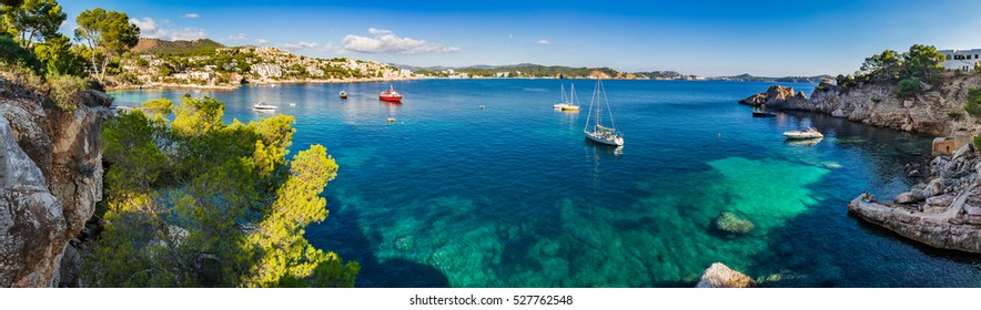 Spain Majorca Panorama of the beautiful bay coast of Cala Fornells, Balearic Islands.