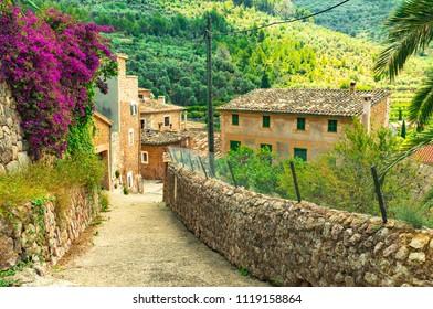 Spain Majorca, street in old mediterranean village Fornalutx