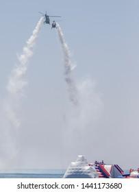 "Spain, Malaga on July 30, 2017, aerial display of the patrol ""ASPA"""