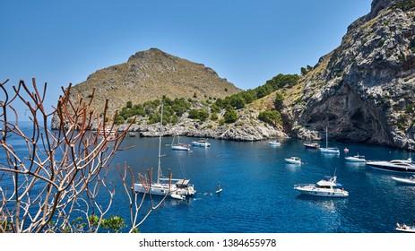 Spain. Mallorca. Sa Calobra Bay. Flotilla of yachts and boats