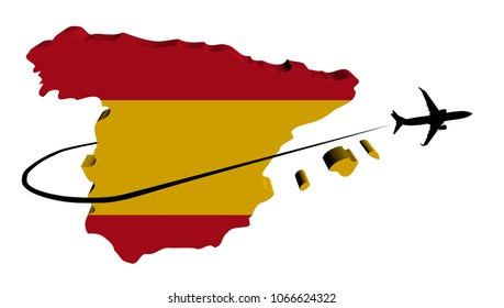 Spain map flag with plane silhouette and swoosh 3d illustration