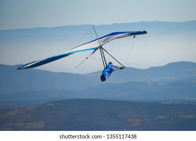 ÀGER, SPAIN – MARCH 16, 2019: Hang gliding flying course in the Àger Valley on the Montsec ridge in Catalonia