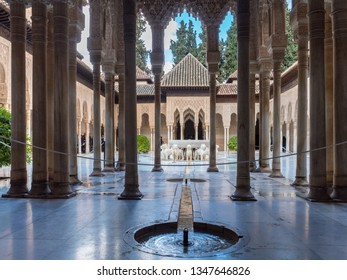 Spain, March 2018: Moorish architecture of the Court of the Lions, the Alhambra, Granada, Andalucia (Andalusia)