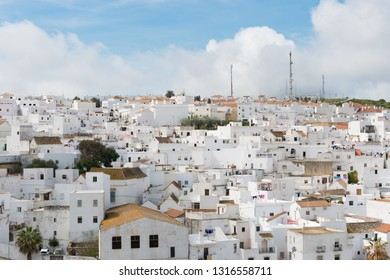 Cádiz, Spain March 3, 2016 - El Cerro de las Maldades, a Spanish hilltop town and municipality in the province of, on the right bank of the river Barbate. The town of Vejer de la Frontera