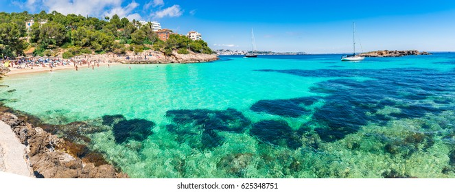 Spain Mediterranean Sea, beautiful bay beach of Cala Comptessa on Majorca island.